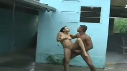 Outdoors sex in rain by beautiful couple