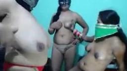 Three Indian ladies on webcam playing